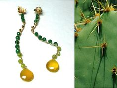 Green Jade earrings and gold-colored chalcedony by annaNibijoux
