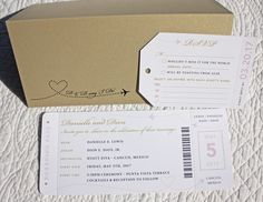Blush Pink & Gold Leaf Airplanes & Dots Boarding Pass Wedding Invitations