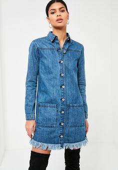Missguided - Blue Frayed Hem Denim Shirt Dress