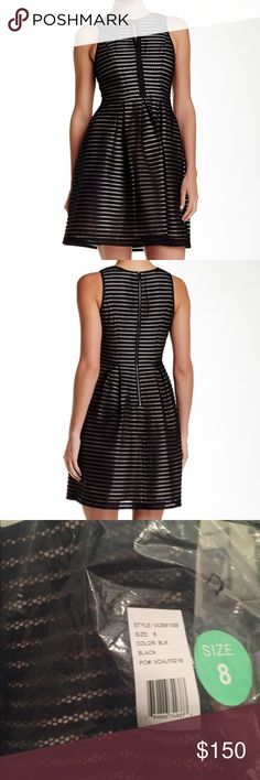 Sleeveless fit and flare Mesh stripe fit and flare Vince Camuto Dresses Mini