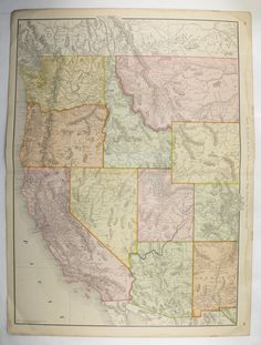 Antique California Map Washington Oregon Map Nevada Idaho Map - Washington oregon map