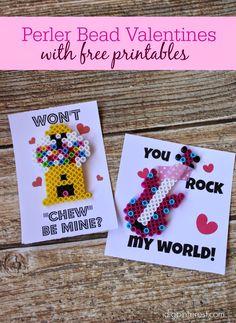 I Dig Pinterest: Perler Bead Valentines with Free Printables