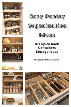 Looking for some tips on how to organize your pantry? Be inspired by our easy tips to organize your pantry. Diy Spice Rack, Diy Pins, Pantry Organization, Spring Cleaning, Homemaking, Cleaning Hacks, Living Rich, Simple, Easy