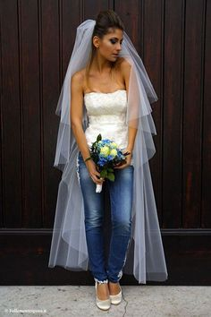 Bride in jeans.