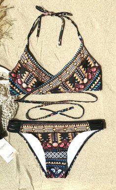 691fb087198043 Chicnico Cute Boho Cross Multi Color Bikini Set Bikini Set