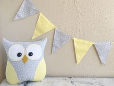 PENNANT BANNER in Yellow and Gray Polka Dot by Loveoffamilyandhome
