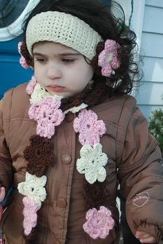 Girls Hand crochet fall/winter scarf hat or earwarmer set adult or child: just TOO frigging cute!!!