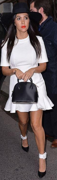 e3d3ad7d795 Who made Kourtney Kardashian s white short sleeve dress