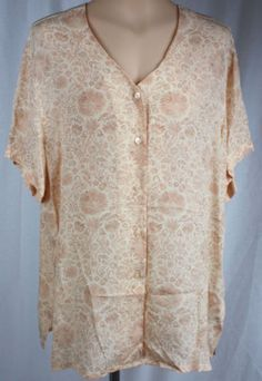 Jones-New-York-Womens-V-Neck-Short-Sleeve-Button-Front-Rayon-Tunic-Size-16
