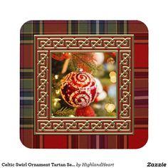 Celtic Swirl Ornament Tartan Set of 6 Coasters