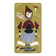 Little Red Riding Hood - Articulated paper doll kit with 9 silver brads - oversized print