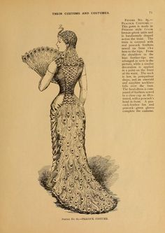 "Peacock costume from ""Masquerade and carnival: their customs and costumes."" Butterick, 1892"