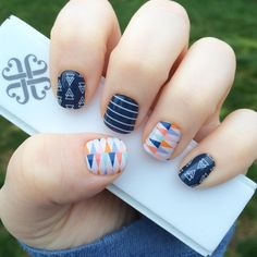 Jamberry Spring/summer 2016 catalog! I'm loving the new wraps Circus Tent and Free Spirit and the blue stripe from the Sail Away August stylebox match perfectly!