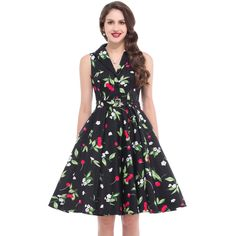 New Fashion 50s 60s Women Vintage Dresses Summer Elegant Clothing Tunic Casual Dress Sleeveless Rockabilly Party Swing Dresses -- Visit the image link more details.