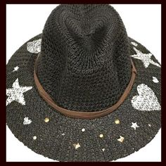 one size fits most black fedora with faux brown suede band, hand painted hearts and stars and hand studded Studded Leather Jacket, Black Fedora, Brown Suede, Boho Chic, Studs, My Etsy Shop, Hand Painted, Inspired Outfits, Band
