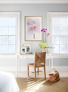 a quaint desk space in master bedroom for a serene space to work from. Home Office Desks, Home Office Furniture, Office Decor, Dining Room Chairs, Side Chairs, Danish Furniture, Home Decor Trends, Decor Ideas, Decorating Ideas