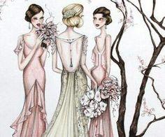 #bride #bridesmaids #sketch