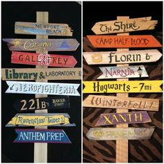 Fictional streets signs for a reading nook maybe