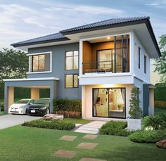 Find incredible home design ideas for interior design and home improvement Two Story House Design, Modern Small House Design, 2 Storey House Design, Model House Plan, House Plans, Philippines House Design, 4 Bedroom House Designs, Modern Bungalow House, Home Design Floor Plans