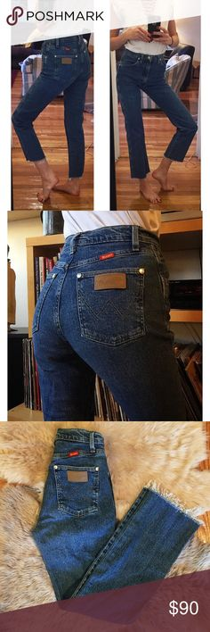 """🎃Vintage Wrangler Jeans 24🎃 If you are very thin like me, these are the jeans for you! These Wrangler jeans are beautiful quality vintage! They fit tapered through the leg and have an amazing frayed hem! These actually hug your butt! Waist 24"""" Rise 11"""" Inseam 29"""". Don't pass these up! Upon purchase I can cut off the hem to any length you want. Not Levi's. Always cheaper on ♏️! Levi's Jeans"""