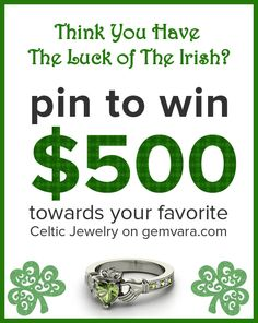 "Gemvara is giving away a 500 dollar gift card! It's easy to enter: 1.) Repin this pin, keeping this text as is. 2.) Create a board called ""My Favorite Gemvara Celtic Jewelry."" 3.) Pin at least 10 pieces of your favorite jewelry pieces from bit.ly/celticgems and customize each with your choice of metal and gems. 4.) Email your board to us at Contests@ gemvara.com so we know you're in! Sweepstakes Ends 3/15/2012. Winner will be randomly selected on March 16, 2012."