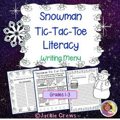 This is a snowman-themed writing menu with a twist. It's a tic-tac-toe board that kids can choose three items to write about during the week to get a tic-tac-toe. Of course you could have them do doubles or give extra credit for completing the whole board.
