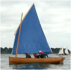 'Aven' with nice traditional blue sail, first sail and oar class in France, by F. Vivier