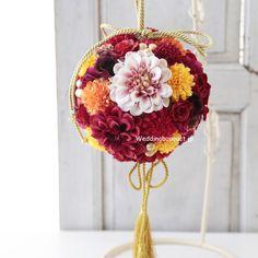 和装に似合うブーケの作品集、ボールの形もございます | ウェディングブーケ.jp