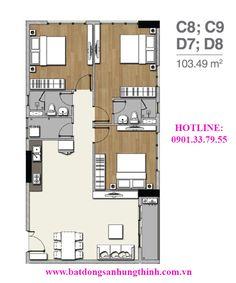 mặt bằng căn C8, C9, D7, D8 :103,49 m2