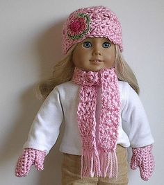 American Girl Doll Clothes Crocheted Hat Scarf by Lavenderlore