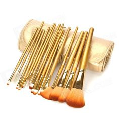 MEGAGA Professional 18-in-1 Nylon Fiber Cosmetic Brushes Set w/ Carrying Bag - Golden