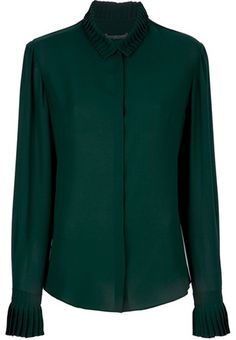 Alexander Mcqueen Pleated Collar Blouse in Green - Lyst