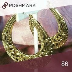 "*5 FOR $12* ANNIVERSARY SALE Over 2"" goldtone filigree hoop earrings E259 Jewelry Earrings"