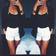 Lovee white high waist shorts with a black shirt! Can never go wrong there!