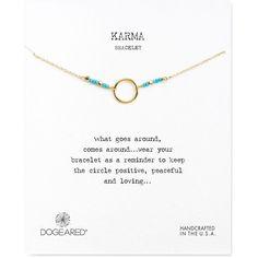 Dogeared Karma Beaded Bracelet ($61) ❤ liked on Polyvore featuring jewelry, bracelets, gold, dogeared jewelry, bead jewellery, beaded jewelry, yellow gold jewelry and gold beaded jewelry