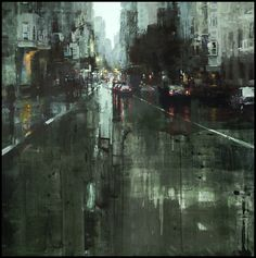 """The Traditional Work of Jeremy Mann - Cityscapes """"Evening in Green"""" - Oil on Panel - 36 x 36 in. - The Principle Gallery"""