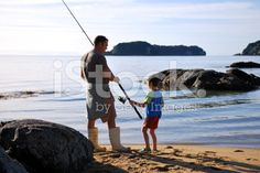 Father and Son Sea Fishing royalty-free stock photo