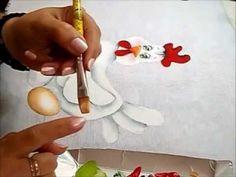 GALINHA FLORISBELA - Pintura em Tecido - How to paint country art Painting Videos, Painting Lessons, Art Lessons, Tole Painting, Fabric Painting, Painting & Drawing, Arte Country, Pintura Country, Chicken Art