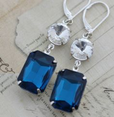 Dark Blue Crystal Earrings Navy Sapphire Clear Silver  Bridal Clip On available