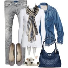 """This scarf is gorgeous. And the gray skinny jeans are hot, hot, hot! This is a """"sassy"""" combo!"""