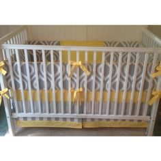 Crib Bedding Set Gray White Yellow ($340) ❤ liked on Polyvore featuring home, children's room, children's bedding, baby bedding, bedding, grey and home & living