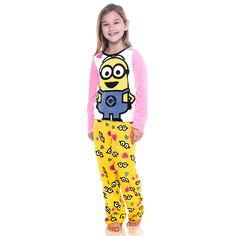 Girls Minions 2-Piece Fleece Pajama Set - Pink Yellow