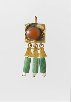 Earring-hook type, with pendants and agate setting