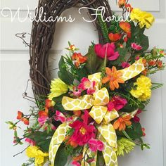Petite Orange and Pink Oval Spring and Summer Grapevine Wreath by WilliamsFloral on Etsy https://www.etsy.com/listing/227448098/petite-orange-and-pink-oval-spring-and