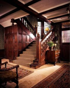 Sagee Manor, Highlands, North Carolina. Check out the woodwork on the staircase!