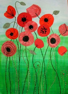 Poppies mixed media by Christine Pettet Art Remembrance Day Activities, Remembrance Day Art, Primary School Art, Elementary Art, Ww1 Art, Poppy Craft, Anzac Day, Autumn Art, Art Classroom