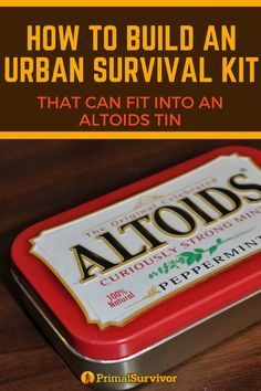 How to Build an Urban Survival Kit that can fit into an Altoids Tin. How to Build an Urban Surviva Survival Items, Survival Supplies, Survival Food, Outdoor Survival, Survival Knife, Survival Prepping, Emergency Preparedness, Survival Skills, Survival Hacks