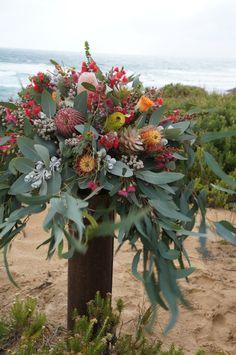 Banksia and gum pedestal arrangement by RANE flowers Wedding Flower Arrangements, Floral Arrangements, Wedding Flowers, Floral Style, Floral Design, Australian Christmas, Flower Farm, Growing Flowers, Native Plants