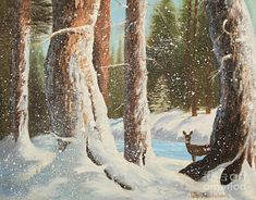 Deer Painting - Snow Woods by Jayne Schelden