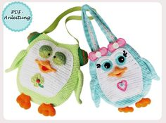 Tasche für Kinder Pinguin-Motiv selber häkeln